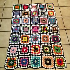 "New Granny Square Afghan Crochet Blanket Throw Black W/Bright Colors 40""X 60"""
