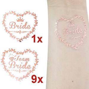 Bride Team Tattoos Rose Gold Heart Wedding Hen Do Night Party - 10 pcs (9 + 1)
