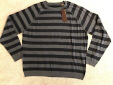 PERRY ELLIS Men's Gray Black Stripe Long Sleeve Sweater Shirt Size 2XL