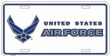 "White USAF US Air Force White Wings Insignia 6""x12"" Aluminum License Plate Tag"