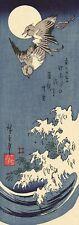 Wave and Swallows Hiroshige Woodblock Print