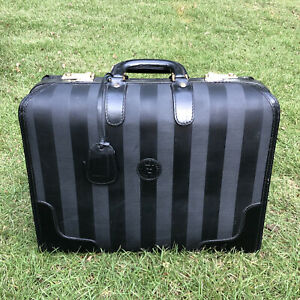 Vintage Small Fendi Black Pequin Stripe Luggage Carry-On Briefcase Computer Case
