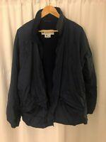 Columbia Womens Navy Blue Jacket Size Large Zip Front Zipper Pockets Windbreaker