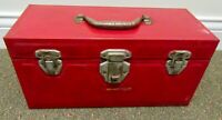 Vintage Unbranded Metal Red / Green Fishing Tackle Box