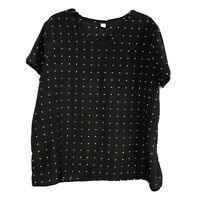 Old Navy Short Sleeve Women's Top Scoop Neck Shirt Blouse Black, White Sz XL