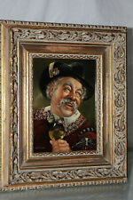 Antique OIL ON BOARD PAINTING OF MAN DRINKING WINE, SIGNED GARTNER
