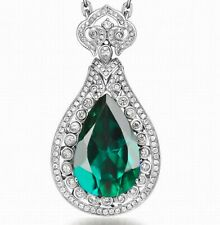 1.75Ct Natural Green Emerald IGI Certified Diamond Pendant In 14KT White Gold