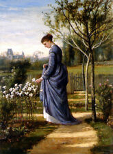 Oil painting Fisher William Mark young lady In The Garden & white flowers canvas