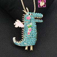 Betsey Johnson Enamel Crystal Dinosaur Dragon Pendant Chain Necklace/Brooch Pin
