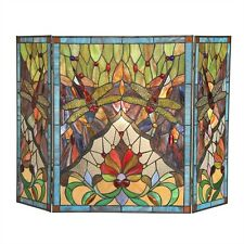 Fireplace Screen Tiffany Style Stained Glass Dragonfly Victorian Design 44 x 28