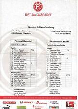 Teamsheet - Fortuna Dusseldorf v TSV Alemannia Aachen 2011/12