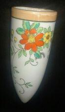 Japan Lusterware Cone Orange and Yellow Flowers Wall Pocket