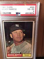 1961 Topps Mickey Mantle #300 Yankees HOF - PSA 4 VG-EX, Just Graded by PSA!