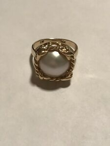 Estate Vintage Mabe Pearl 10K Yellow Gold Cocktail Ring Size 7