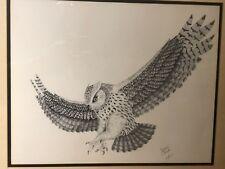 Great Horned Owl Bird of Prey in Flight Print Signed in Pencil by Joan Carole