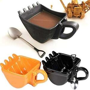 Single Excavator Bucket Cup Hand Tea Coffee Funny Mug Shovel + Spoon HOT SALE