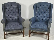 Pair Tufted Designer Mahogany Chippendale Armchairs Wing Chairs Blue Fabric