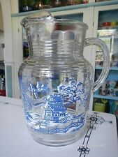 Hazel Atlas Glass Blue Willow Pitcher Johnson Brothers Royal China Hard To Find
