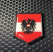 "Austria Flag Domed CHROME Emblem Proud Österreich Flag Car 3D Sticker 2""x 2.25"""