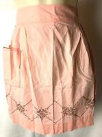 MCM 40s 50s 60s  Vintage Floral Apron Embroidered Half BROWN PINK Argyle