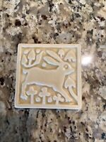 "MOTAWI TILEWORKS white cream MEDIEVAL RABBIT 4"" X 4"""