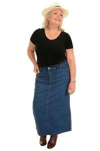 Ladies Women's Stonewash Stretch Denim Maxi Skirt Sizes 16 To 30