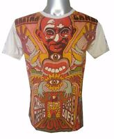 Men Shirt short sleeve cotton Om Retro India Hippie Gandhi Mahatma Peace M Sure
