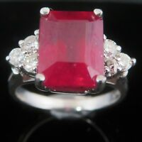 Vintage Emerald Cut 5ct Ruby Diamond 14k White Gold Ring Red Engagement Gift