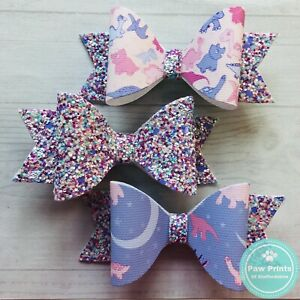 """Set Of 3 Pink & Lilac Dinosaur Hair Bows On Alligator Clips - 3.5"""" Hair Clips"""