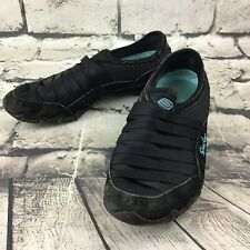 Skechers Women's Sz 6 Shoes Black Blue Leather Slip-On Athletic Sneakers