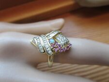 GENUINE RUBY, OPAL,  & CZ RING 2TONE 925 STERLING SILVERSZ/8
