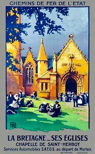 Affiche chemin de fer Etat - La Bretagne - Ses Eglises - Chapelle St Herbot