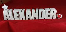 Beton Steinguss Buchstaben 3D Deko Namen  ALEXANDER Geschenk verpackt