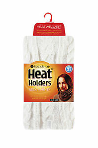 Women's Heat Holders 3.4 tog Thermal Cable Knit Neck Warmer Cream