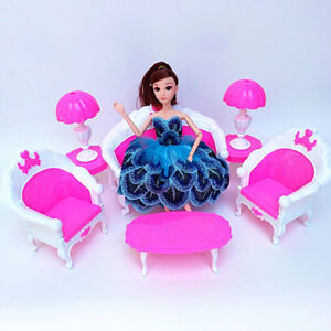 6pcs/Set Barbie Doll House Furniture Living Room Pink Sofa Couch Chair Armchair