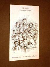 Gravure année 1872 Une lecon à l'université d'Oxford