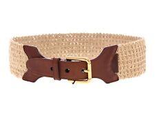NWT $250 DOLCE & GABBANA Belt Brown Leather Logo Straw Cintura s.90 cm / 36 inch
