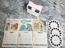 GAF View-Master Lot Red White Viewer + 12 Slides Lassie Animals Zoo Flipper +