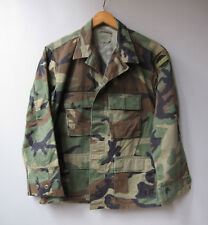 Vtg BDU Camo Jacket Shirt Camouflage US Military Surplus L Reclaimed Green Large