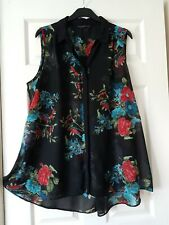 LADIES EVANS LONG BLACK/RED/BLUE FLORAL SLEEVELESS FLARED BLOUSE TOP SIZE 24