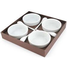 4 x Conjunto de Cerámica Crema Quemador Pudin Postre Cuencos Con Cucharas Blanco