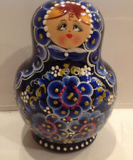Russian Matryoshka 10 Nest Doll Flower Girls Blue or Red Crafts Hand Painted