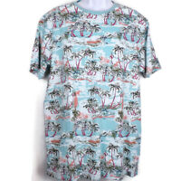 Free Planet Men's XL Blue Tee Shirt Short Sleeves With Palm Trees All Over