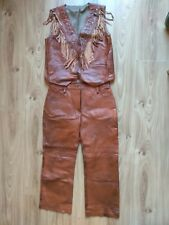 Rare Vintage Handmade Mens Western Leather Style Brown Cowboy Suit Jacket Pants