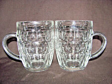 Pair of Clear Thick Heavy Thumbprint Glass 1 Pint/20 oz Beer Mugs
