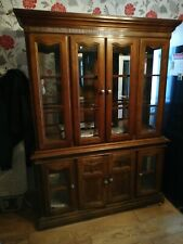 Antique Glass Display Cabinet Dresser Sideboard with lights - Solid Wood Used
