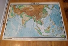 NICE Vintage WENSCHOW Relief School Wall Map South Asia mid-century India China