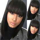 Medium Straight Full Bang Black Women's Fashion Synthetic Hair Wig