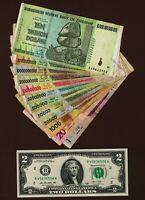 1 to 10 Trillion Dollars Zimbabwe Currency Set + United States 2 Dollar Bill UNC