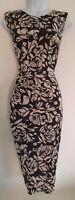 Womens Phase Eight Black Floral Gathered Drape Stretch Sleeveless Wiggle Dress12